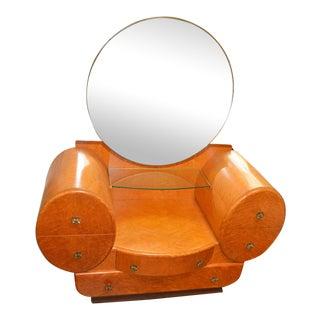 1950s English Art Deco Birds Eye Burl Maple Vanity Dresser Mirror For Sale