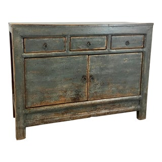 Antique Asian Style Blue Patina Wood Chest of Drawers For Sale