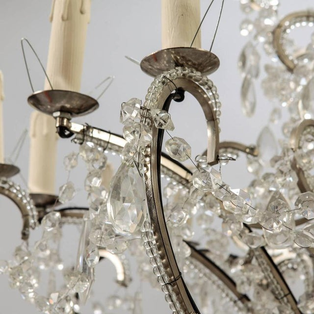 1950s Sixteen Arm Silver Metal Highly Beaded French Chandelier For Sale - Image 5 of 9