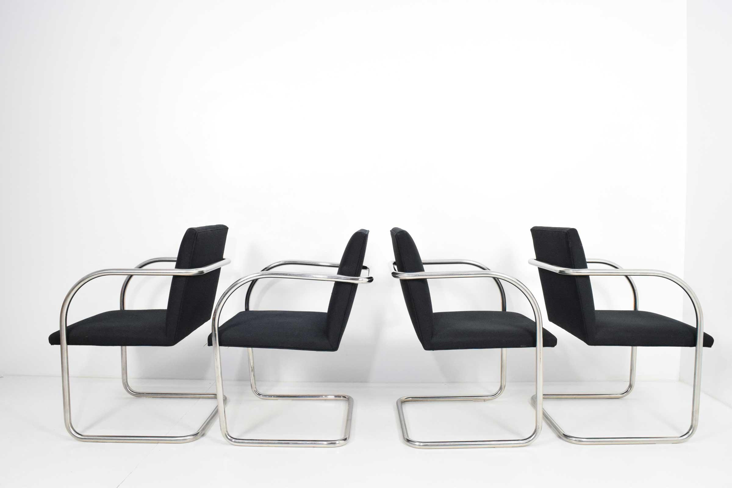 We Have A Set Of Four Brno Chairs By Knoll In Polished Stainless Steel. The