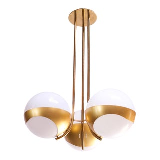 Large Italian Modern Brass and Milk Glass Chandelier by Lamperti For Sale