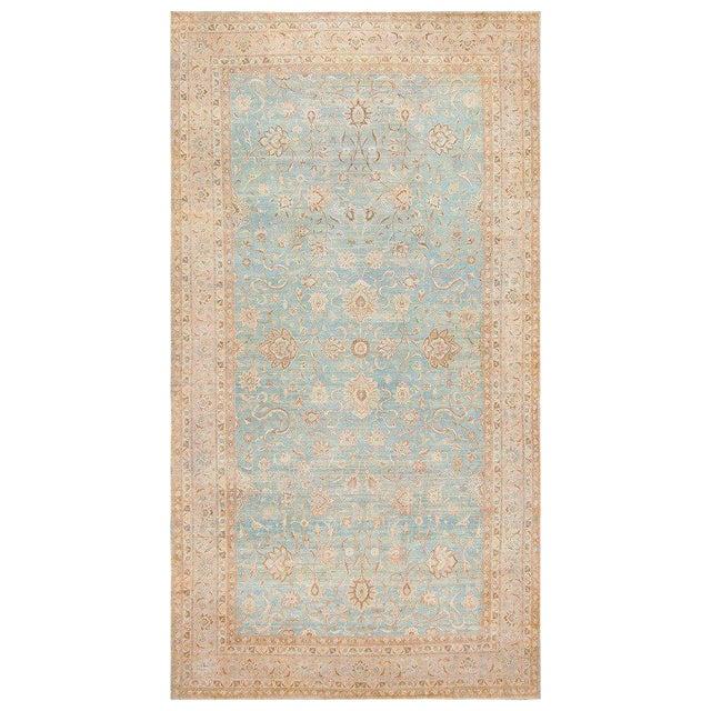 Large Antique Sky Blue Persian Kerman Carpet For Sale