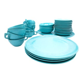 Mid-Century Modern Branchell Light Blue Melmac Dining Set - 36 Pieces For Sale