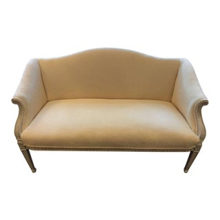 French Cream White Upholstered & Painted Wood Loveseat