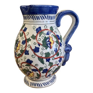 Hand Painted Blue & White Pottery Pitcher For Sale