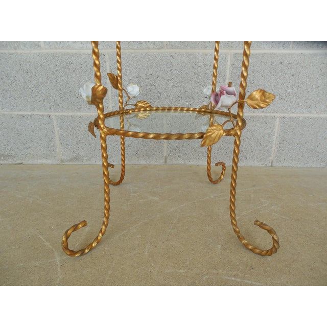 Vintage Italian Gilt Hand Painted Rose Petal Accented Etagere For Sale In Philadelphia - Image 6 of 8