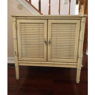 1960s Henry Link Hollywood Regency Bamboo Dresser / Side Table For Sale