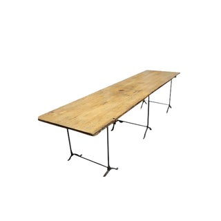 Extra Long Beech Farmhouse Dining Table With Iron Base