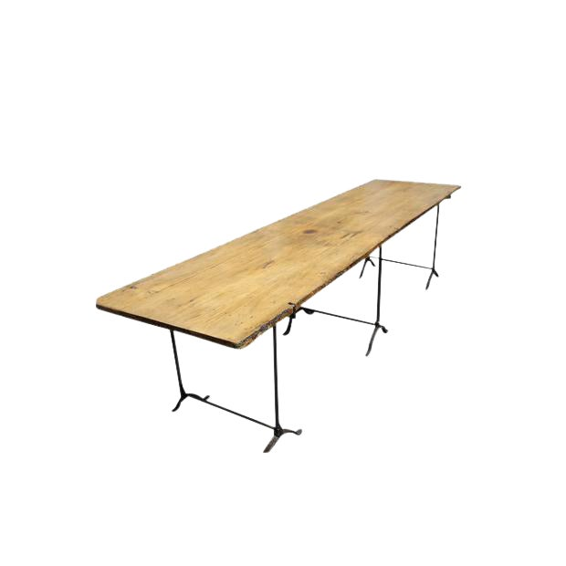 Extra Long Beech Farmhouse Dining Table With Iron Base For Sale