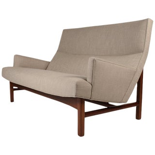1960s Jens Risom Walnut Cradled Settee For Sale