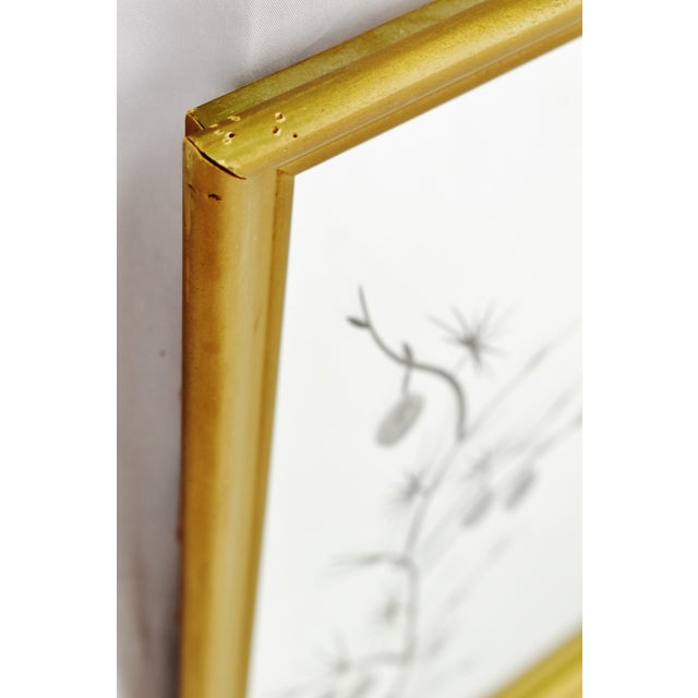 MCM Gold Gilt Framed Etched Glass Wall Mirror For Sale - Image 9 of 13