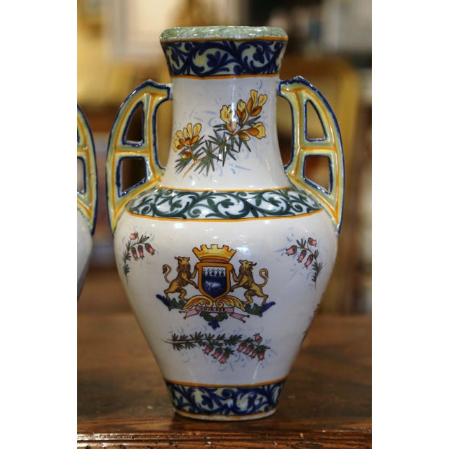 Yellow 19th Century French Hand Painted Faience Vases Signed Hr Quimper - a Pair For Sale - Image 8 of 11