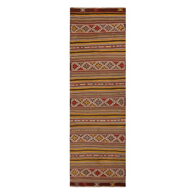 Vintage Helvaci Yellow Multicolor Wool Kilim Rug For Sale