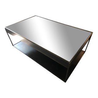 Restoration Hardware Mirrored Top Cast Metal Coffee Table