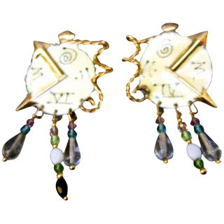 Lunch at the Ritz Whimsical Enamel Clock Artisan Earrings Circa 1980s For Sale