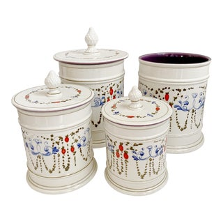 Vintage Italian Ceramic Canisters & Kitchen Tools Jar Set Weil Ceramics, Set of 4 For Sale