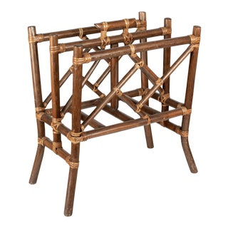 Mid Century Rattan Magazine Rack For Sale