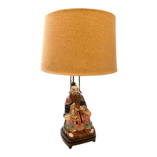 Chinoiserie Wise Man Porcelain Lamp For Sale