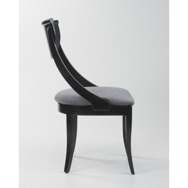 Black Klismos Dining Chairs Pietro Constantini Ello Black Lacquer Unmarked 1970s a Set of Six For Sale - Image 8 of 13