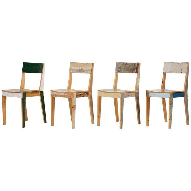 Set of Four Lacquered Oak Chairs in Scrapwood by Piet Hein Eek For Sale - Image 13 of 13