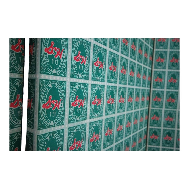 Mid 20th Century Andy Warhol S&h Green Stamps Folding Screen For Sale - Image 5 of 12