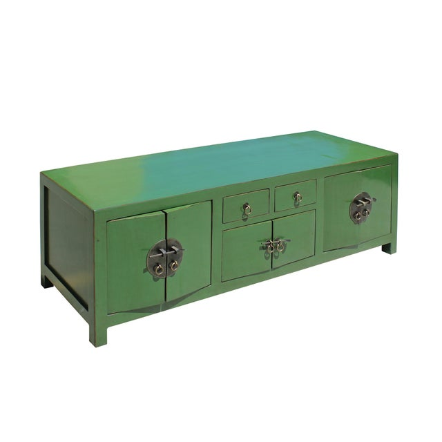 2010s Chinese Distressed Medium Dark Moss Green Low Tv Console Table Cabinet For Sale - Image 5 of 7
