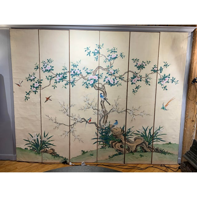 Early 19th Century French Hand Painted 6 Panel Screen For Sale - Image 5 of 5