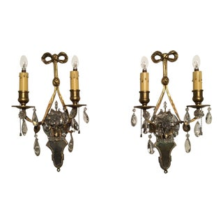 Authentic e.f. Caldwell / Bagues Type Bronze Crystal Sconces, Signed, 1890s - a Pair