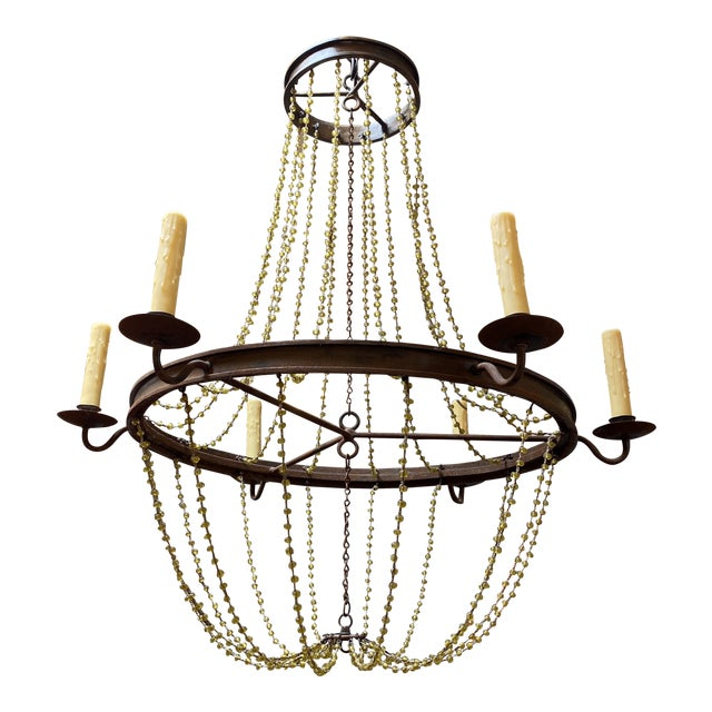 Mid 20th Century 1940's French Six Light Chandelier For Sale