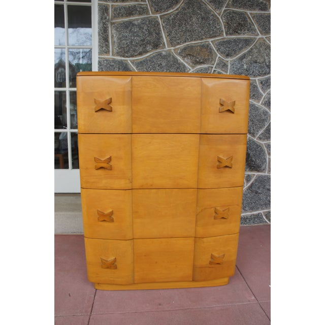 Art Deco Heywood Wakefield Rio Champagne Maple Dresser For Sale - Image 3 of 11