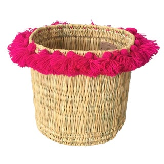 Moroccan Large Fuchsia Tassel Basket For Sale