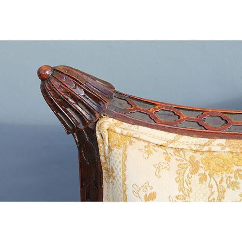 Traditional Carved Asian Chinoiserie Sofa - Image 11 of 11