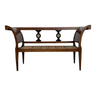 20th Century Empire Bench in Walnut With Ebonized Details and Caned Seat For Sale