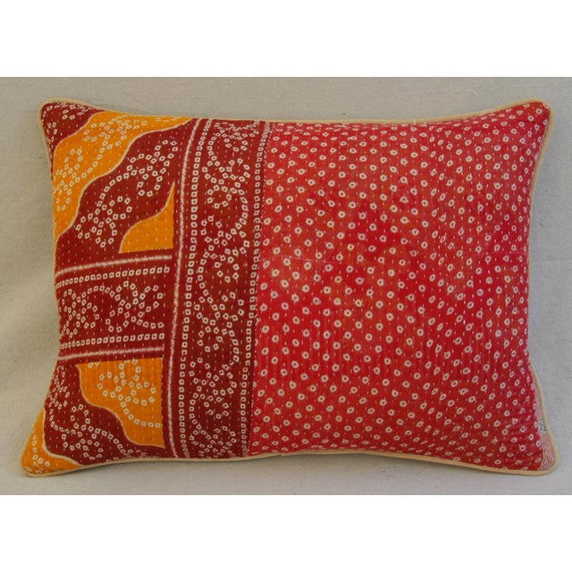 Boho-Chic Kantha Textile & Velvet Down Pillow - Image 3 of 5