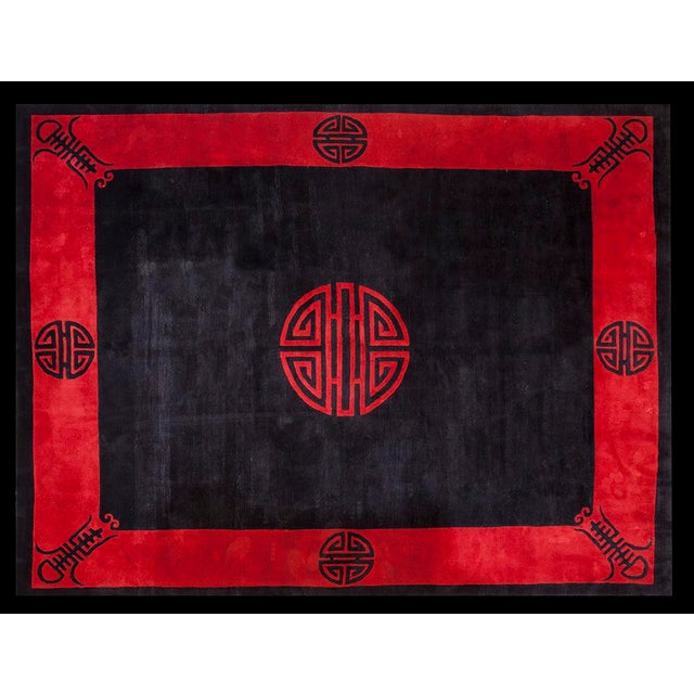 "1930s Chinese Art Deco Rug - 8'6""x11'6"" For Sale - Image 9 of 9"