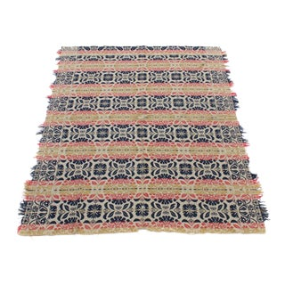Mid-19th Century Signed Jacquard Coverlet For Sale