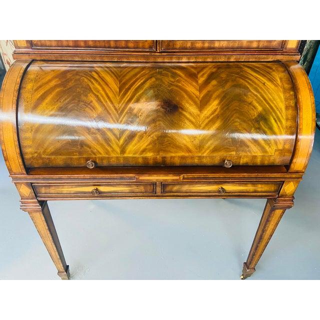 Maitland - Smith Vintage Regency Maitland Smith Flame Mahogany Burl Two Part Secretary Desk For Sale - Image 4 of 13