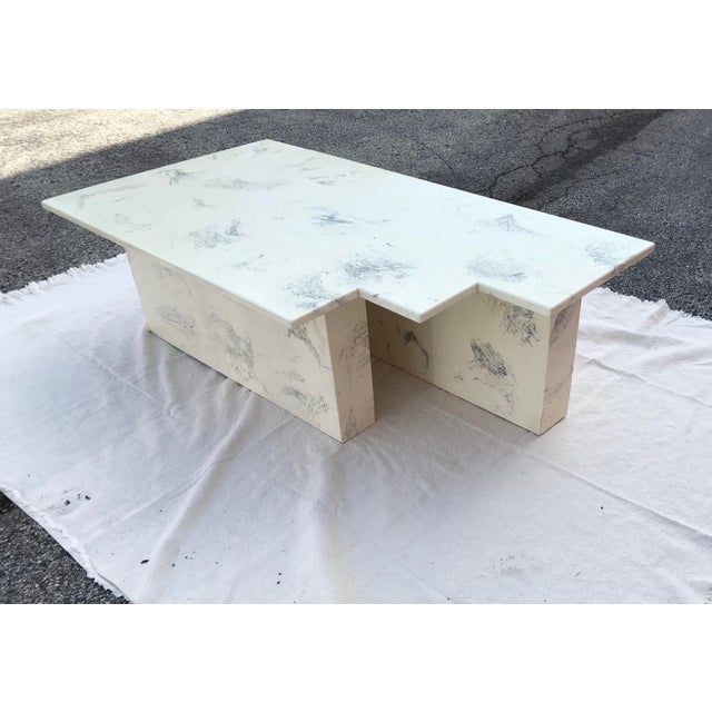 Vintage Postmodern Geometric Shaped Marble Coffee Table For Sale - Image 13 of 13
