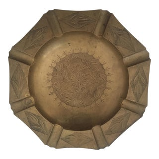 Vintage Mid Century India Brass Octagonal Etched Design Ashtray For Sale