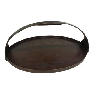 Oval Dark Wood Tray with Handle