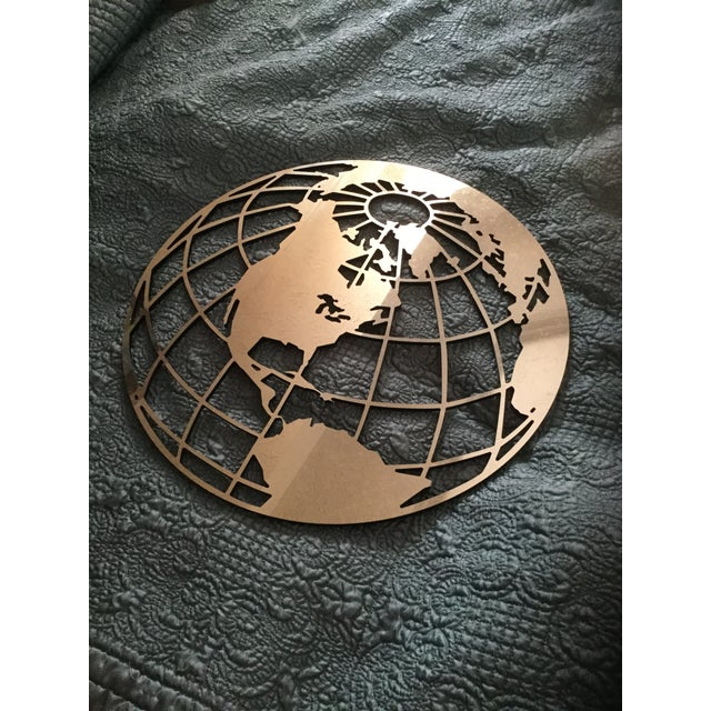 Vintage Silver Globe Wallhanging For Sale - Image 5 of 6