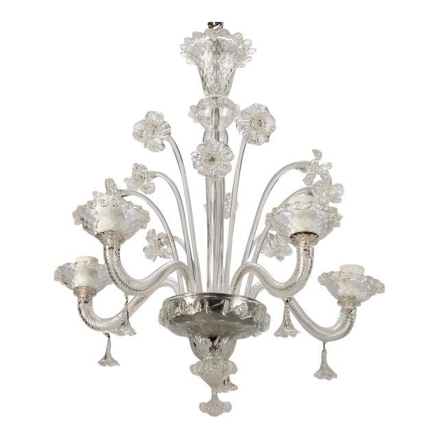 Venetian Five Light Clear Glass Daffodil Chandelier For Sale