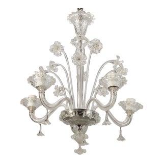 Venetian Four Light Clear Glass Daffodil Chandelier