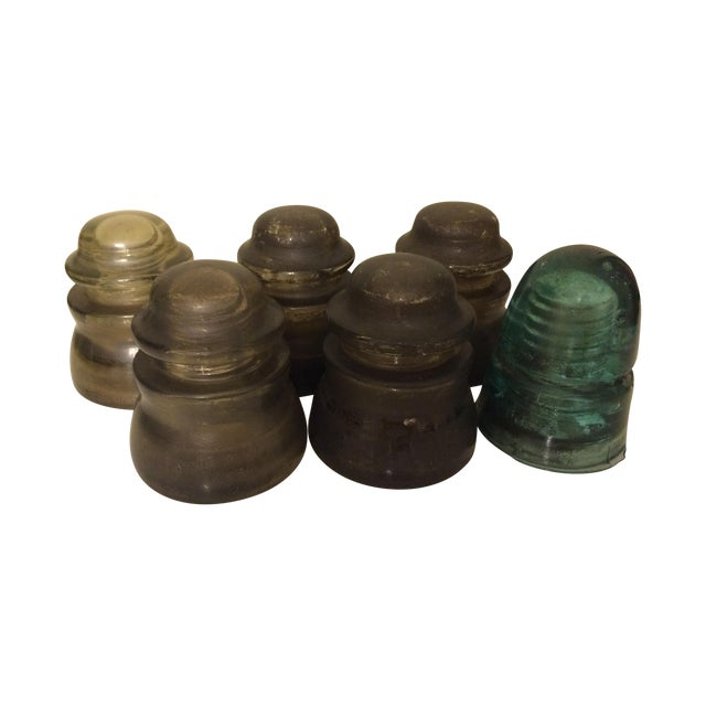 Gray Glass Insulator Collection- Set of 6 - Image 1 of 5