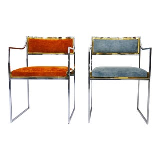 Pair of Armchairs Willy Rizzo, Italy, 1970s For Sale
