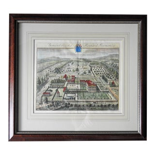 18th Century Engraving English Manor House Birds Eye View For Sale