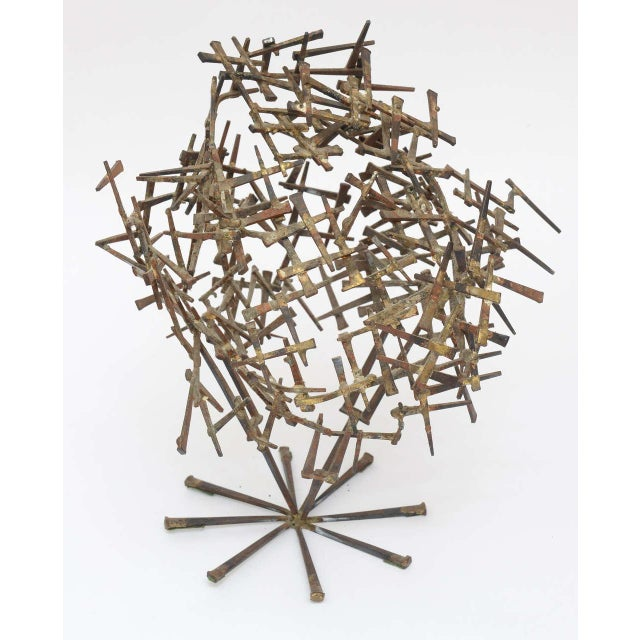 One Of A Kind Brutalist Abstract Nail Tabletop Globe Sculpture For Sale - Image 4 of 10