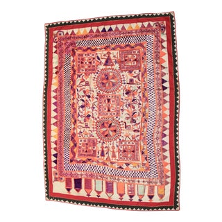 Mirrored Embroidered Indian Textile For Sale