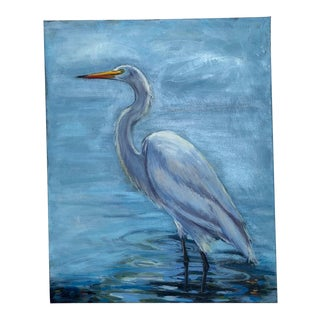 Beth Downey Snowy Egret Painting For Sale