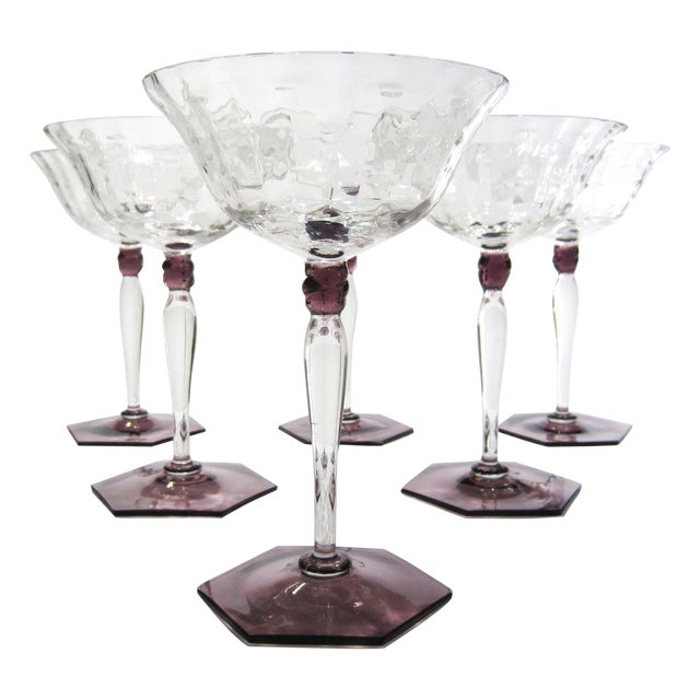 Amethyst & Clear Textured Cocktail Glasses - S/6 - Image 1 of 11
